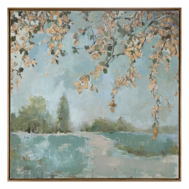 "Handpainted Peaceful Landscape Modern Canvas Art With Narrow Gray Frame, 37""x37"""