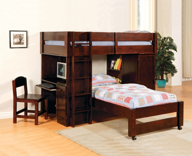 Harford I Dark Walnut Junior Loft Bed Set with Built-in Desk & Chair