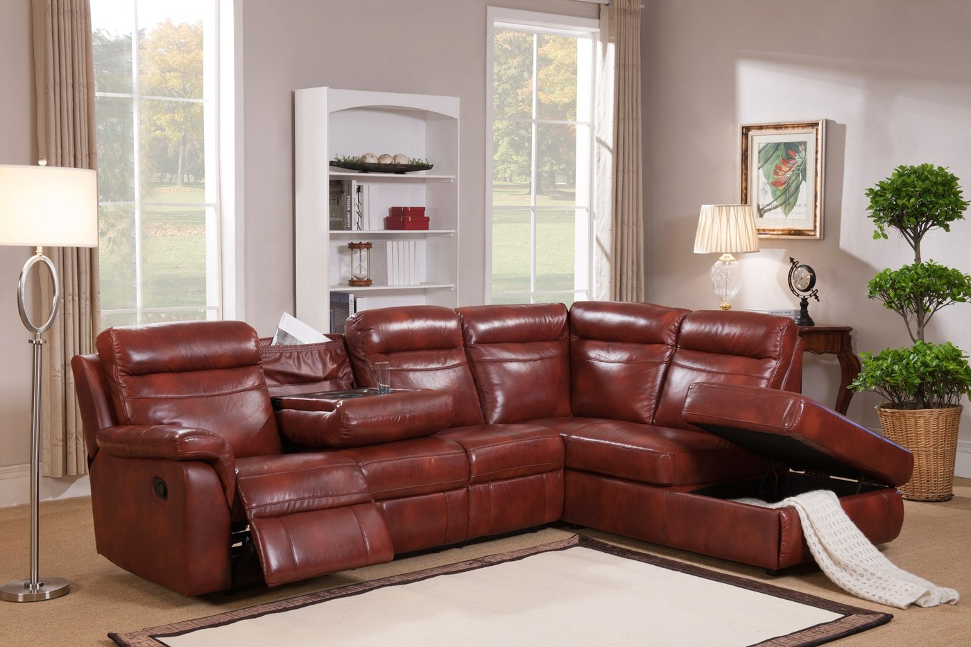 Hariston genuine caramel leather reclining sectional sofa with storage chaise - Leather reclining sectional with chaise ...