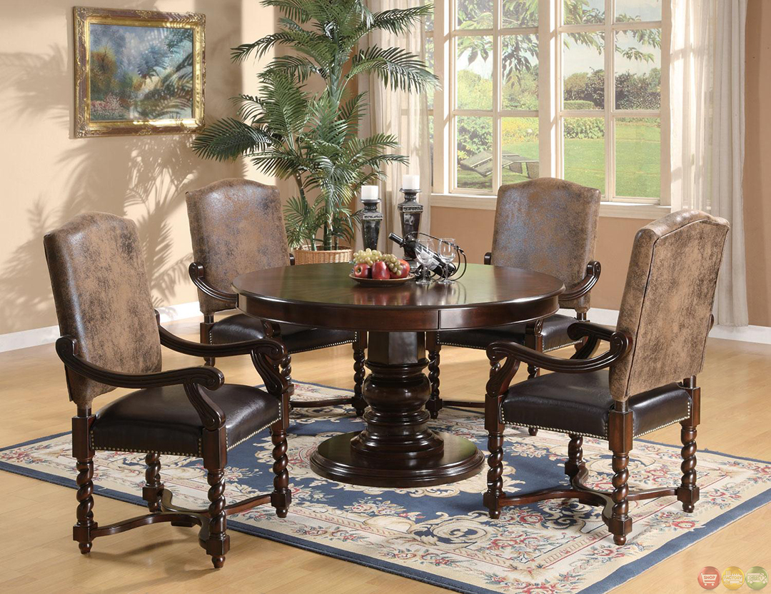 harrelson 5 piece transitional round table dining set. Black Bedroom Furniture Sets. Home Design Ideas