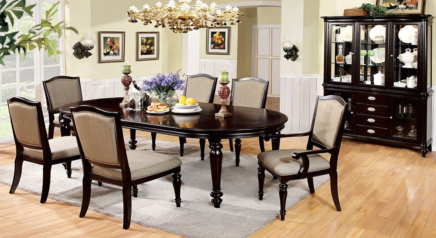 Harrington Elegant Dark Walnut Formal Dining Set With