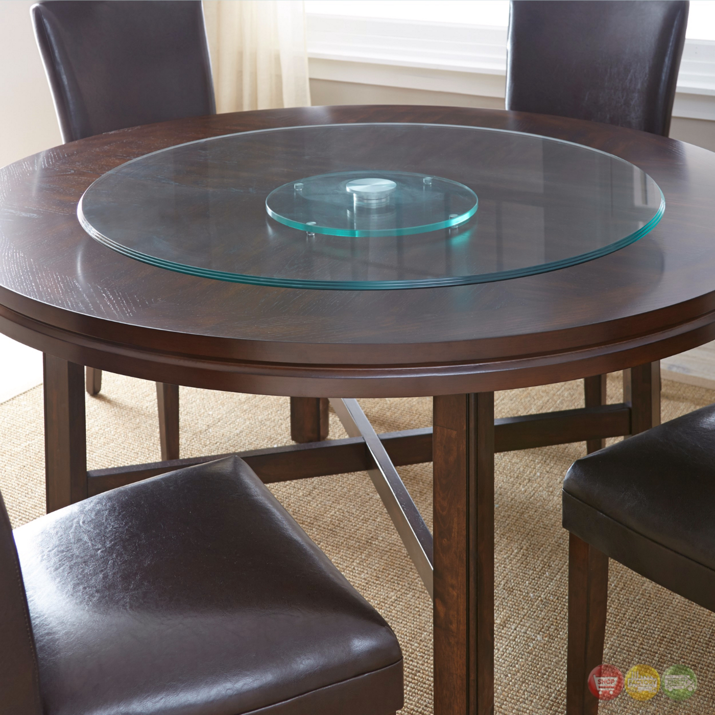 "Hartford 40"" Round Clear Tempered Glass Lazy Susan"