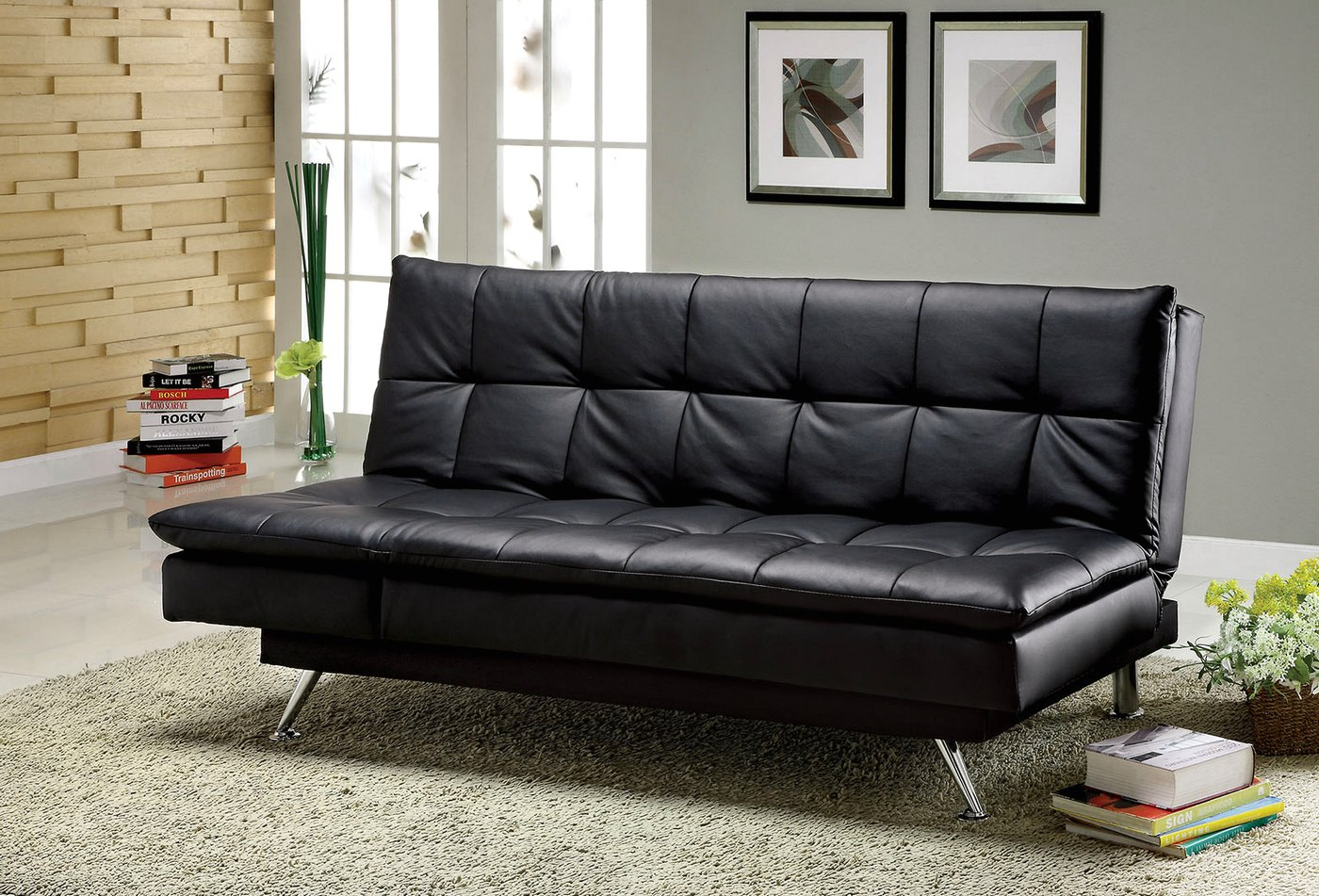Hasty Contemporary Black Sofa Set with Leatherette Seat CM2750