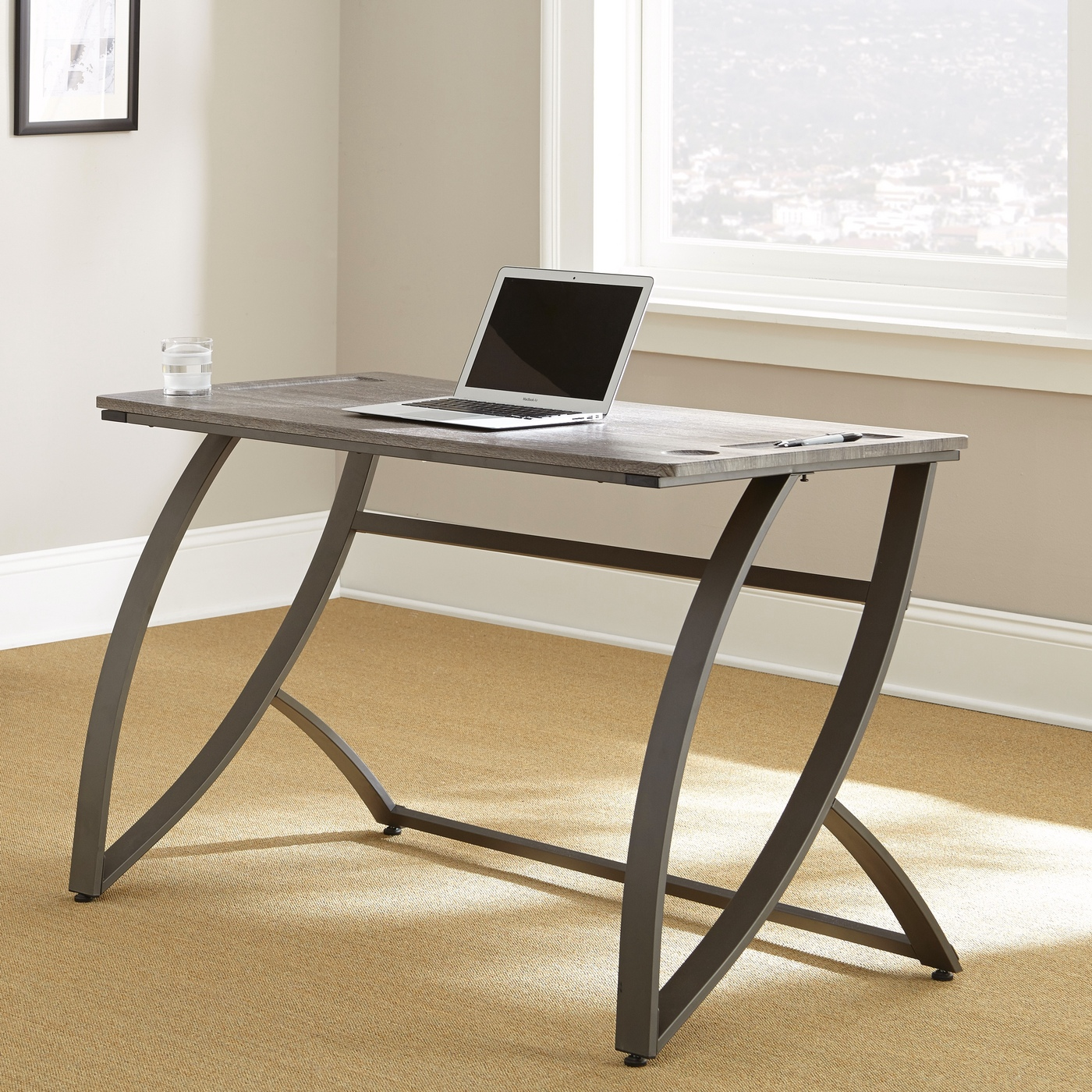 "Hatfield Ultra-sleek Minimalist 54"" Desk In Driftwood Grey"