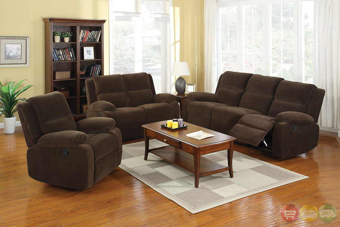 Haven traditional dark brown living room set with plush for Dark brown living room set