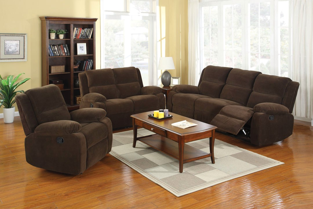 Haven Traditional Dark Brown Living Room Set With Plush