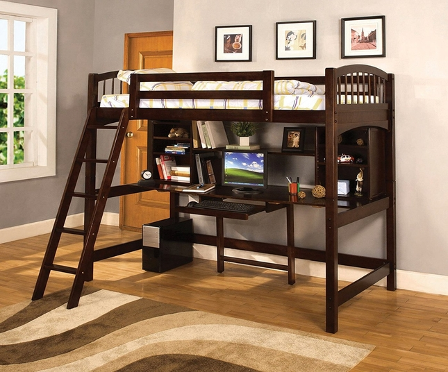 Hayden Espresso Loft Bed with Workstation