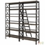 Headway Industrial Modern Wooden Bookcase With Ladder, Brown