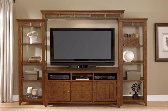 Hearthstone Rustic Oak Entertainment Center with Piers