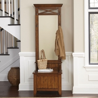 Hearthstone Rustic Oak Traditional Entryway Hall Bench Set