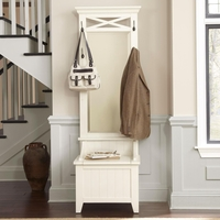 Hearthstone Rustic White Entryway Mirrored Bench
