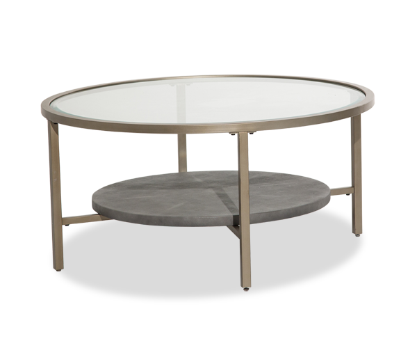 Circular Gold Glass Coffee Table: Heavenly Casual Round Coffee Table With Glass Top And Gold
