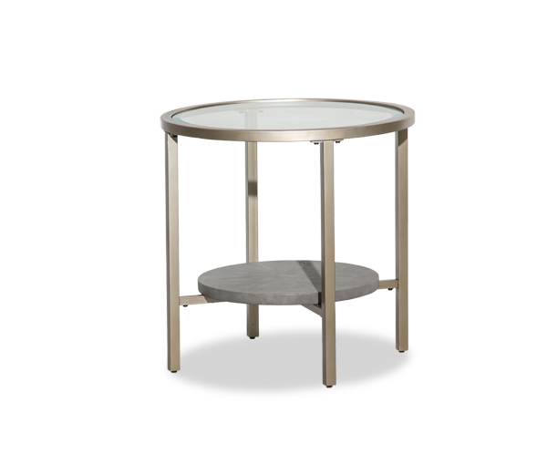 Heavenly Casual Round Coffee Table With Glass Top And Gold