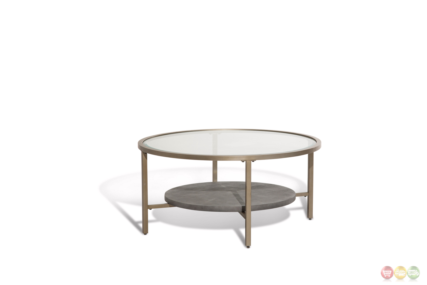 Heavenly casual round coffee table with glass top and gold metal finish Gold metal coffee table
