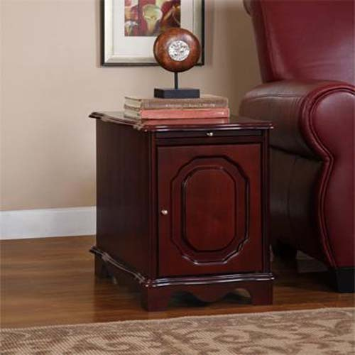 Heirloom Cherry Finish Magazine Storage Cabinet Table