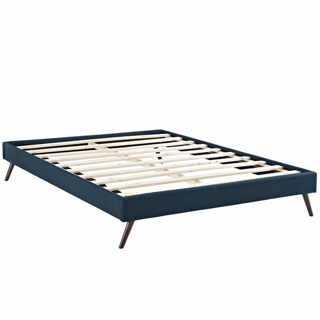 Helen Mid-century King Fabric Platform Splayed Leg Bed Frame, Azure