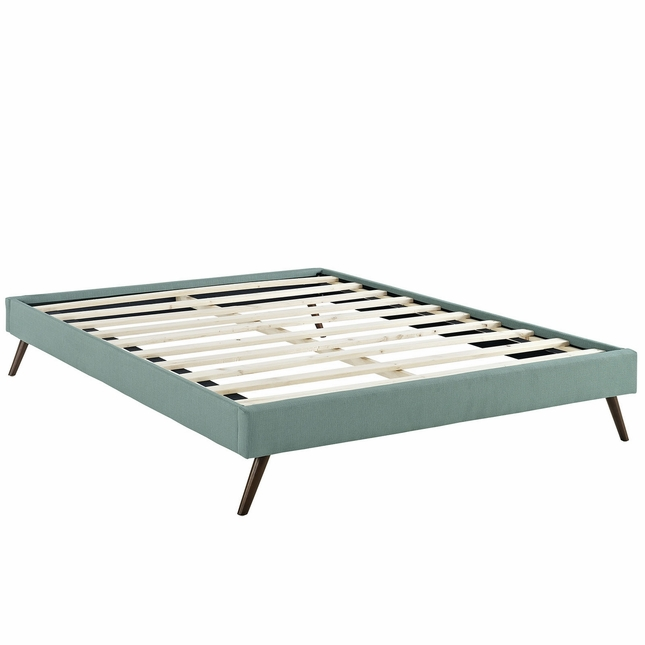 Helen Mid-century King Fabric Platform Splayed Leg Bed Frame, Laguna