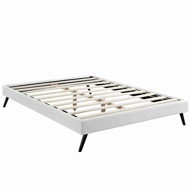 Helen Mid-century King Vinyl Platform Splayed Leg Bed Frame, White