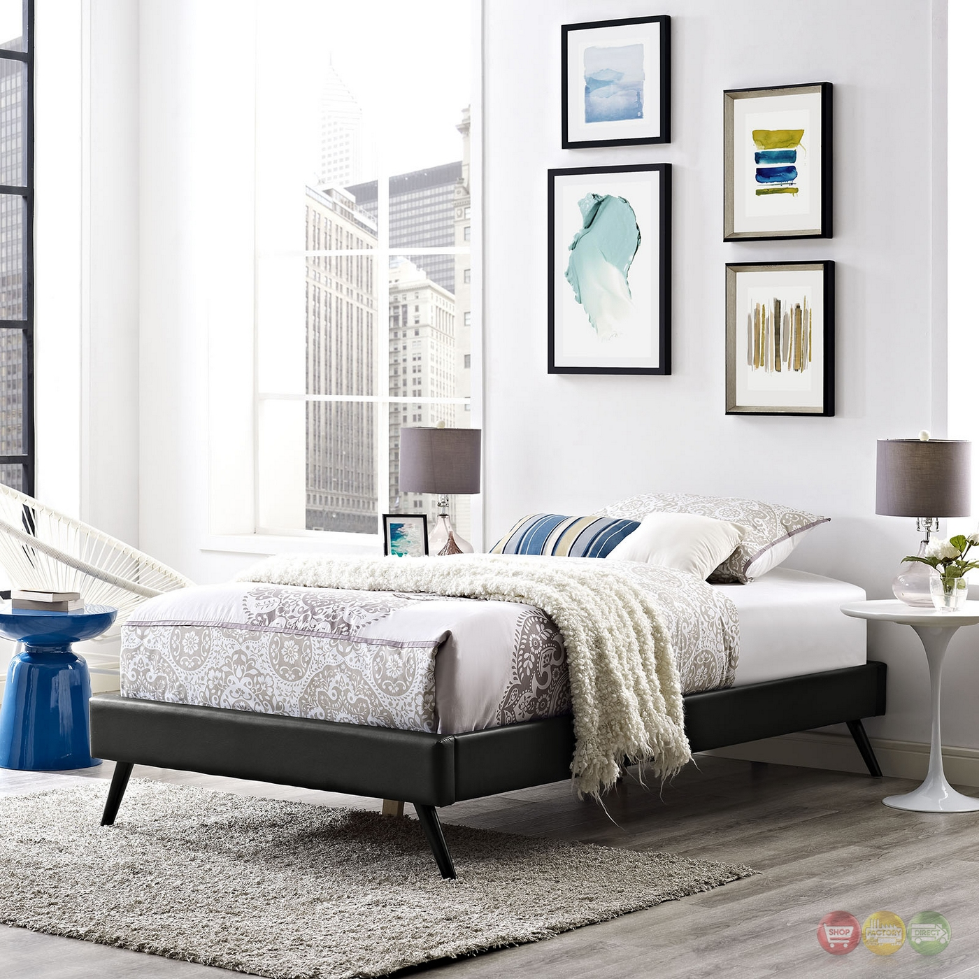 Helen Mid-century Twin Vinyl Platform Splayed Leg Bed ...