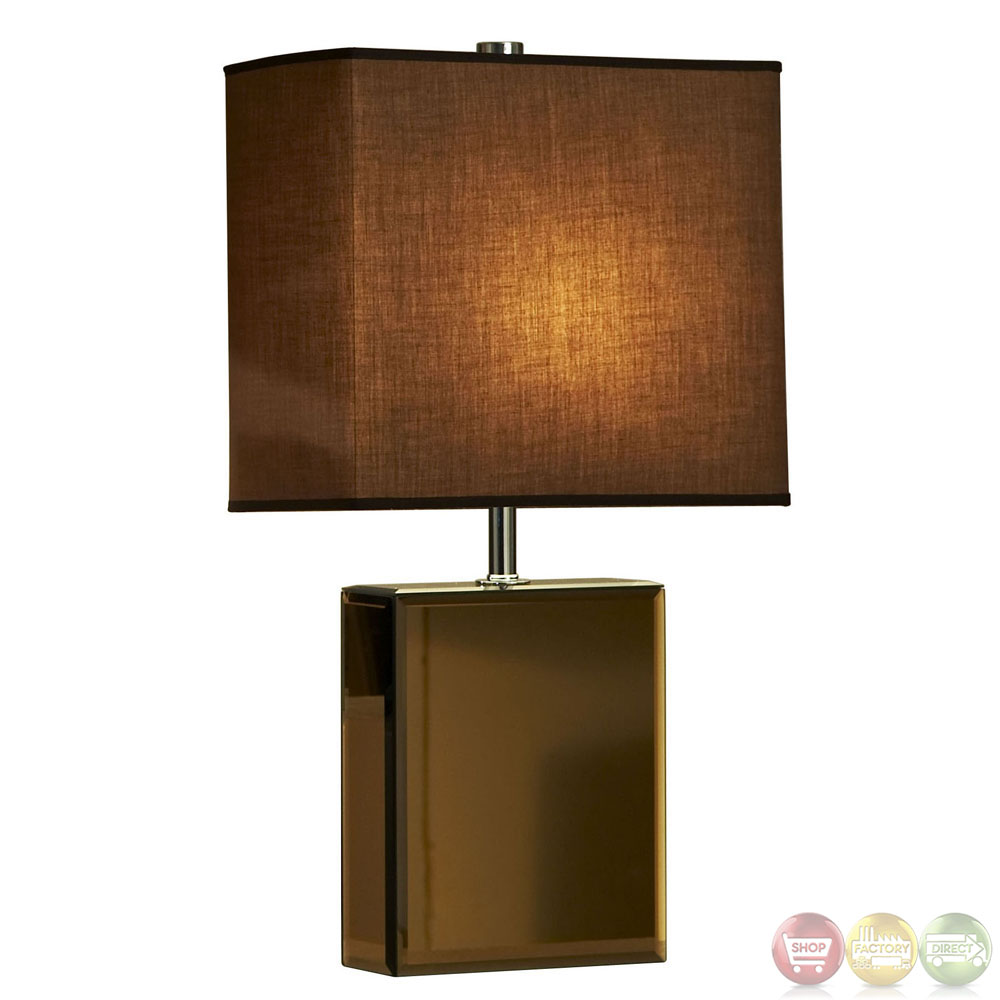 Hepburn bronzed chrome base brown shade table lamp 11379 for Brown table lamp shades