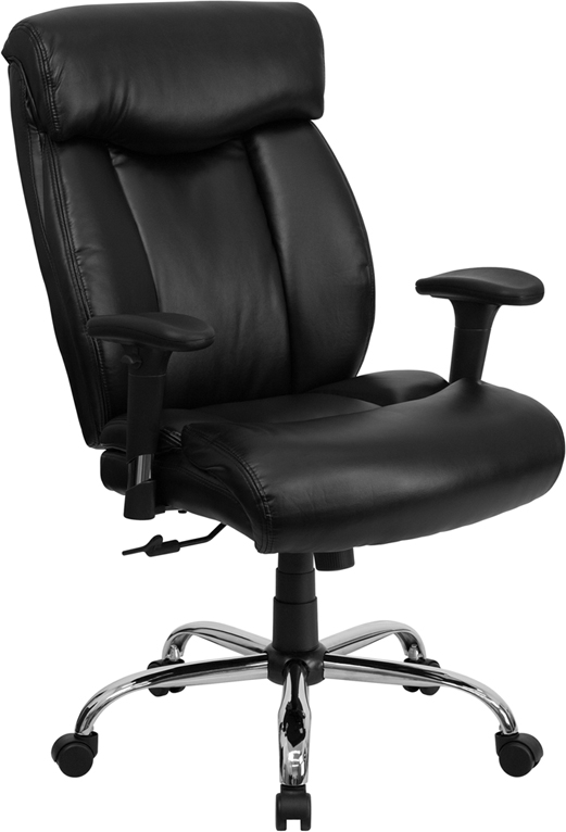 Hercules Big & Tall Black Leather Swivel Office Chair W ...