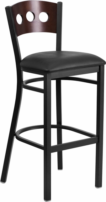 Hercules Black 3 Circle Back Metal Barstool Walnut Wood Back, Black Vinyl Seat