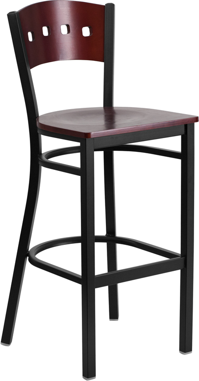 Hercules Black 4 Square Back Metal Barstool Mahogany Wood