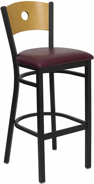 Hercules Black Circle Back Metal Barstool Natural Wood Back Burgundy Vinyl Seat