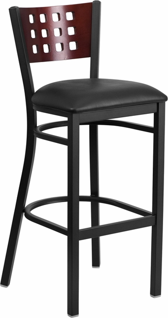 Hercules Black Cutout Back Metal Barstool Mahogany Wood Back, Black Vinyl Seat