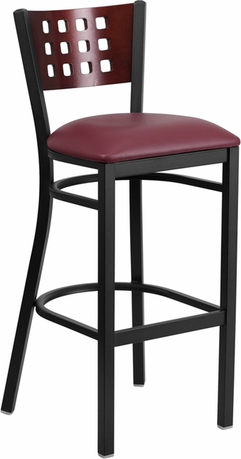 Hercules Black Cutout Back Metal Barstool Mahogany Wood Back Burgundy Vinyl Seat