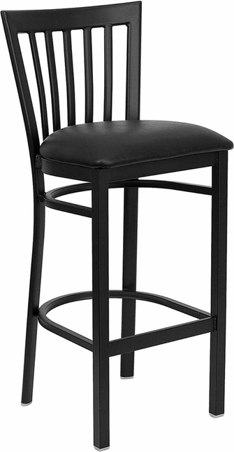Hercules Black School House Back Metal Restaurant Barstool Black Vinyl Seat