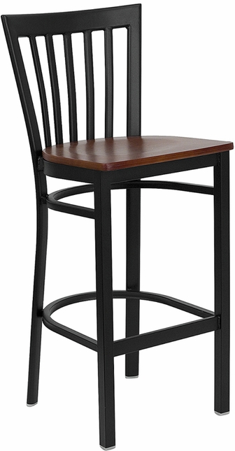 Hercules Black School House Back Metal Restaurant Barstool Cherry Wood Seat