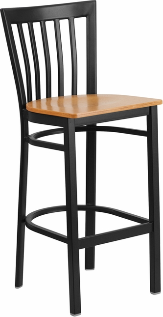 Hercules Black School House Back Metal Restaurant Barstool Natural Wood Seat