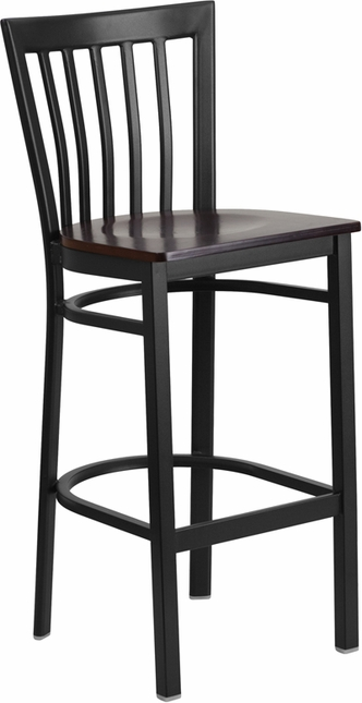 Hercules Black School House Back Metal Restaurant Barstool Walnut Wood Seat