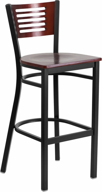 Hercules Black Slat Back Metal Barstool Mahogany Wood Back & Seat