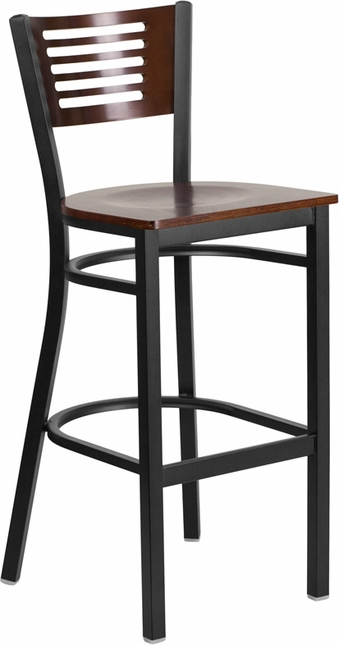Hercules Black Slat Back Metal Barstool Walnut Wood Back & Seat