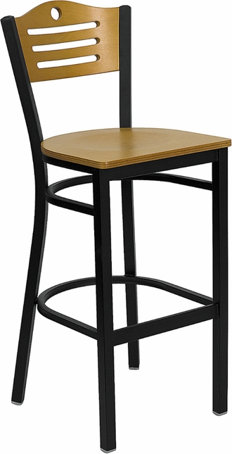 Hercules Black Slat Back Metal Restaurant Barstool Natural Wood Back & Seat