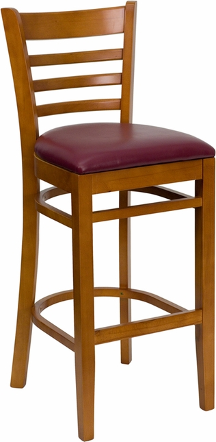 Hercules Cherry Finished Ladder Back Wooden Barstool Burgundy Vinyl Seat