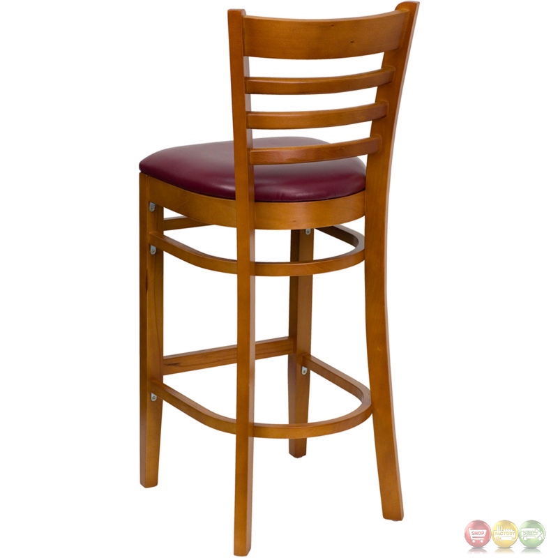 Hercules Cherry Finished Ladder Back Wooden Barstool
