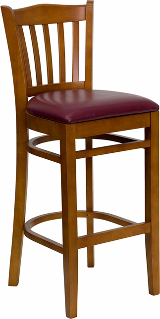 Hercules Cherry Slat Back Wooden Restaurant Barstool With Burgundy Vinyl Seat