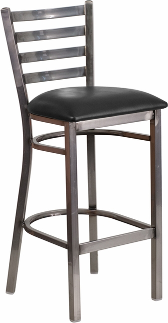 Hercules Clear Coated Ladder Back Metal Restaurant Barstool Black Vinyl Seat