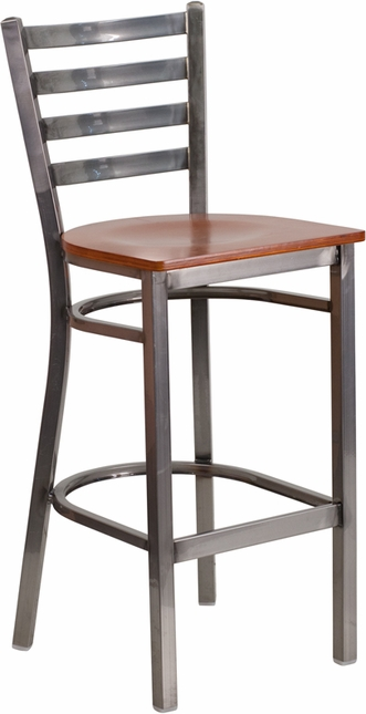 Hercules Clear Coated Ladder Back Metal Restaurant Barstool Cherry Wood Seat