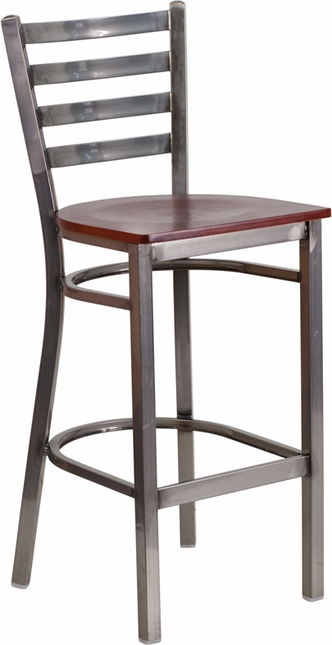 Hercules Clear Coated Ladder Back Metal Restaurant Barstool Mahogany Wood Seat