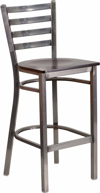 Hercules Clear Coated Ladder Back Metal Restaurant Barstool Walnut Wood Seat