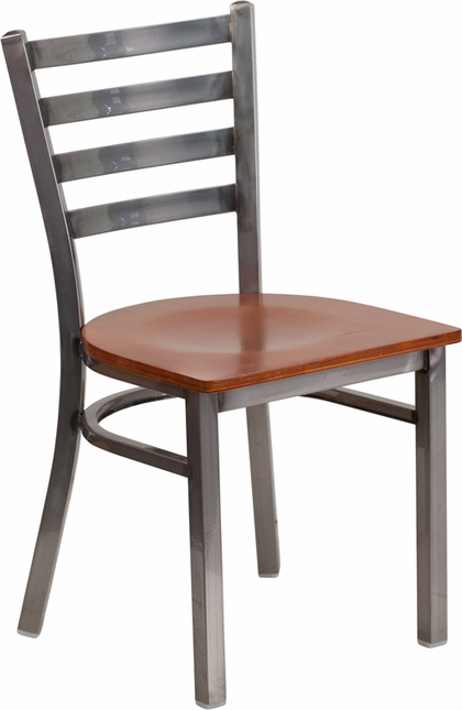 Hercules Clear Coated Ladder Back Metal Restaurant Chair Cherry Wood Seat