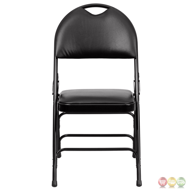 Hercules Extra Large Black Vinyl Metal Folding Chair W