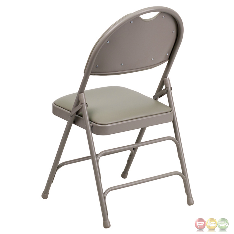Hercules Extra Large Gray Vinyl Metal Folding Chair W