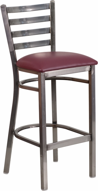 Hercules Glossy Ladder Back Metal Restaurant Barstool With Burgundy Vinyl Seat