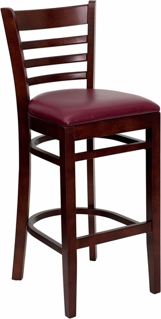 Hercules Mahogany Ladder Back Wooden Restaurant Barstool With Burgundy Seat
