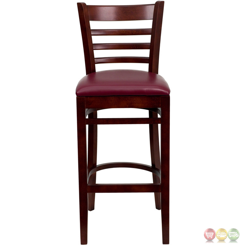 Hercules Mahogany Ladder Back Wooden Restaurant Barstool  : hercules mahogany ladder back wooden restaurant barstool with burgundy seat 8 from shopfactorydirect.com size 800 x 800 jpeg 125kB
